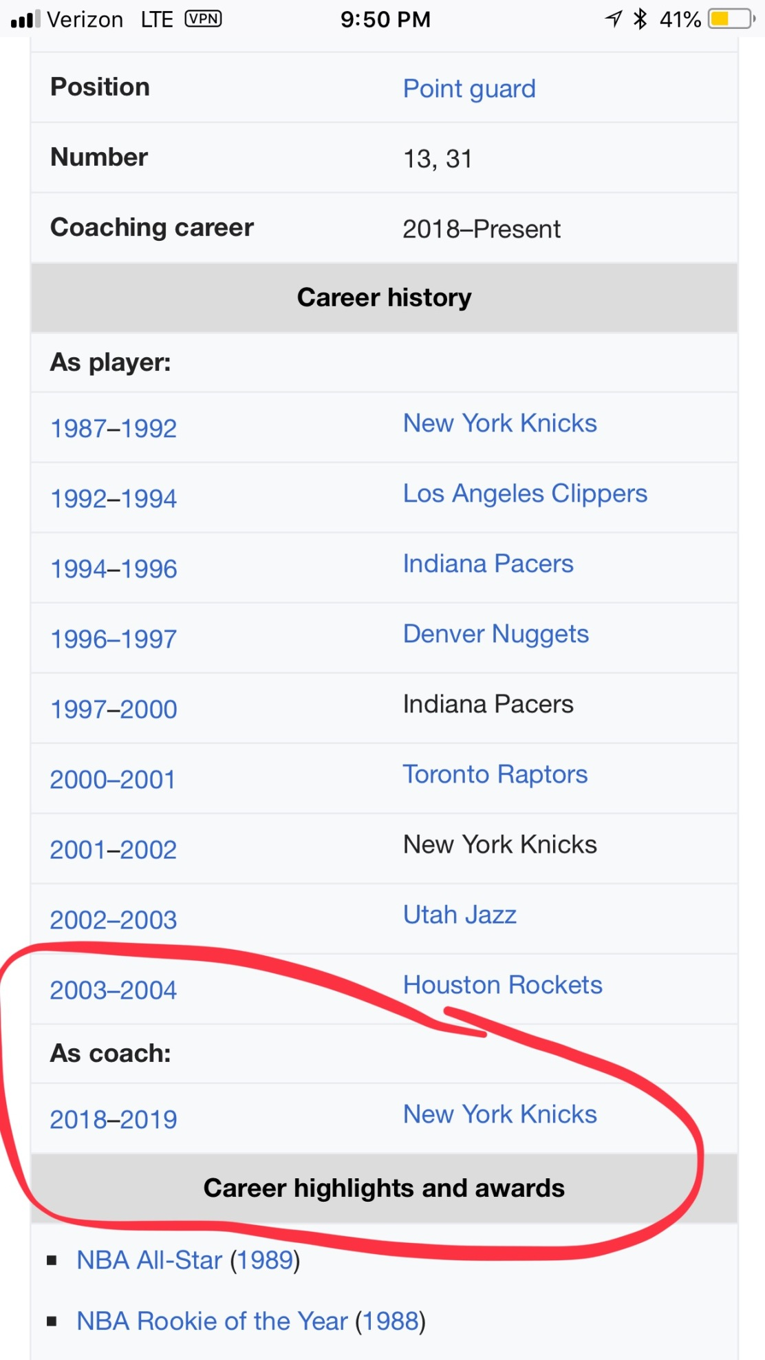 Mark Jackson's Wikipedia page says he's been hired as the New York Knicks head coach (Screen grab of Wikipedia)