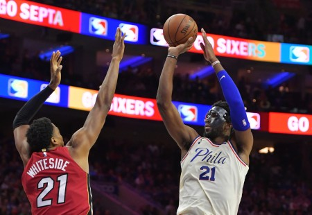 Miami Heat big man Hassan Whiteside attempts to block Philadelphia 76ers center Joel Embiid (Getty Images)