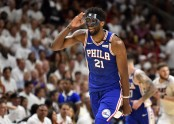 Joel Embiid celebrates after making a three-pointer (Getty Images)