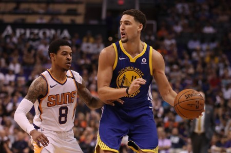 Klay Thompson is seen here handling the ball against the Phoenix Suns in the regular season (Getty Images)