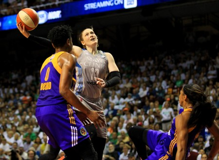 Lindsay Whalen is seen here taking a shot against the Los Angeles Sparks (Getty Images)
