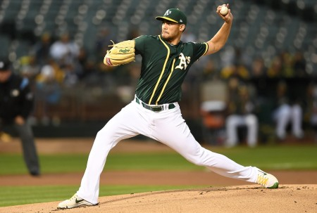 Oakland Athletics pitcher Sean Manaea is seen here pitching against the Texas Rangers (Getty Images)