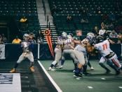 Jersey Flight quarterback Steve Panasuk looking to pass the ball against the Maryland Warriors
