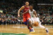 Terry Rozier goes to the basket as Ben Simmons attempts to guard him (Getty Images)