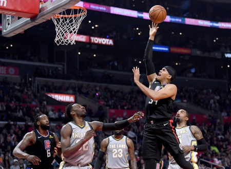 Tobias Harris is seen here, as the Los Angeles Clippers player is going to the basket, against the Cleveland Cavaliers (Getty Images)