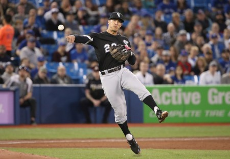 Tyler Saladino throwing the ball (Getty Images)