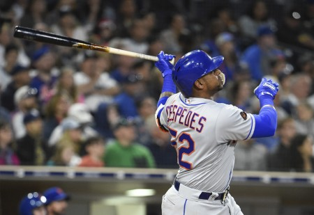 Yoenis Céspedes is taking a swing against the San Diego Padres (Getty Images)