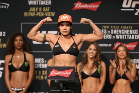 Amanda Nunes at a UFC weigh-in at Park Theater in Las Vegas, Nevada on July 7, 2017 (Getty Images)