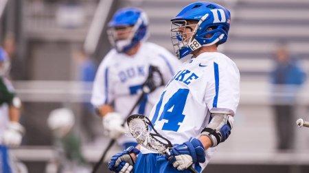 Justin Guterding celebrating a goal (Photo by Duke Men's Lacrosse)