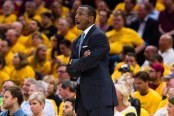 Dwane Casey appears to be mad about a call in the series with the Cleveland Cavaliers (Getty Images)