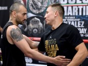 Gennady Golovkin and Vanes Martirosyan greet each other in the ring during a media workout on April 23rd, 2018 (Getty Images)