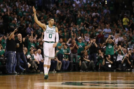 Jayson Tatum puts up three fingers after making a three-pointer (Getty Images)