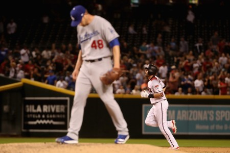 A.J. Pollock trotting the bases after hitting a home run against Dodgers pitcher Brock Stewart (Getty Images)