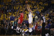 Klay Thompson shooting over James Harden (Getty Images)