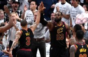 LeBron James and George Hill react after a second-half play in Game 6 (Getty Images)