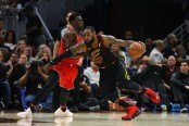 LeBron James going to the basket against Toronto Raptors forward Pascal Siakam (Getty Images)