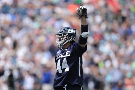 Yale's Matt Gaudet scores a goal against Albany