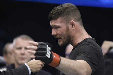 Michael Bisping speaking after his last fight in November 2017 (Getty Images)