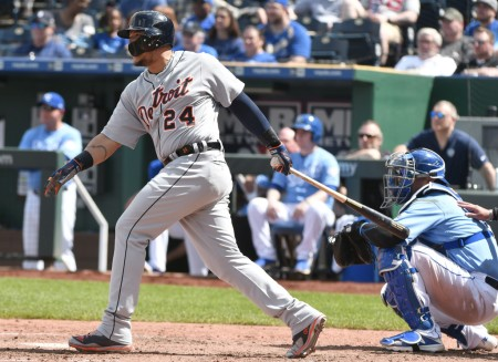 Miguel Cabrera is seen here hitting against the Kansas City Royals (Getty Images)