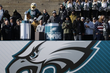 Nick Foles speaking at the Philadelphia Eagles parade (Getty Images)