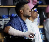 Robinson Canó is sitting in the Seattle Mariners dugout (Getty Images)