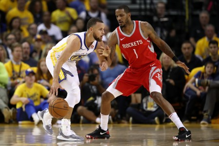 Stephen Curry is seen here being guarded by Houston Rockets' Trevor Ariza (Getty Images)