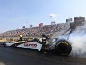 Steve Torrence during Saturday qualifying (Photo by the NHRA)