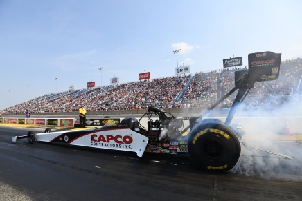 Torrence is atop the Top Fuel field inChicago