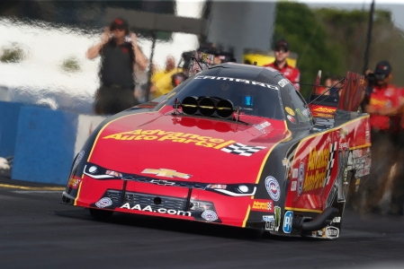 Advance Auto Parts Funny Car driver Courtney Force racing in Virginia on Saturday