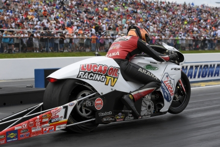 Lucas Oil TV Pro Stock Motorcycle rider Hector Arana Jr. racing on Saturday in Virginia