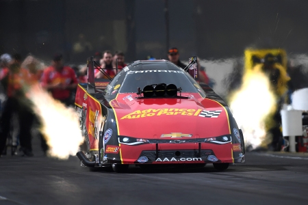 Advance Auto Parts Funny Car pilot Courtney Force racing earlier this season