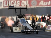 U.S. Army Top Fuel Dragster pilot Tony Schumacher racing earlier this season
