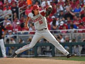 Arkansas Razorbacks pitcher Blaine Knight pitching against the Oregon State Beavers in Game 1 of the College World Series (Getty Images)