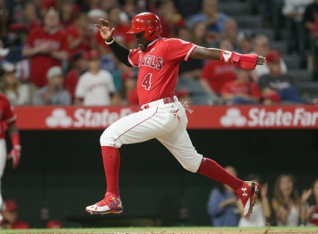 Brandon Phillips scores a run as a member of the Los Angeles Angels (Getty Images)