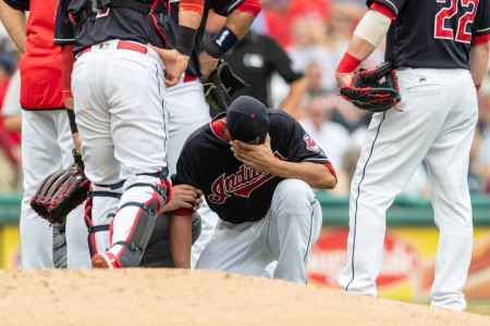 Carlos Carrasco after getting hit against the Minnesota Twins on Saturday (Getty Images)