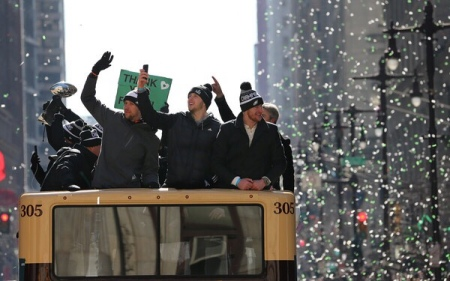 Philadelphia Eagles quarterbacks Carson Wentz, Nick Foles, and Nate Sudfeld during the Eagles parade (Getty Images)