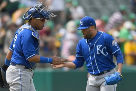 Kelvin Herrera celebrates the Royals win with catcher Salvador Perez following their win over the Oakland Athletics on June 9th, 2018 (Getty Images)