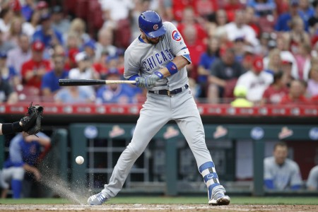 Kris Bryant getting hit by a pitch against the Cincinnati Reds (Getty Images)