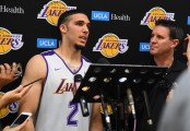 LiAngelo Ball talks to the media in May after working out for the Lakers prior to the NBA Draft (Getty Images)