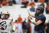 Syracuse quarterback Rex Culpepper throws a pass against the Boston College Eagles (Getty Images)