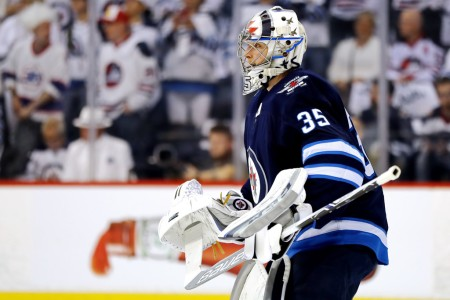 Steve Mason is seen here as a member of the Winnipeg Jets (Getty Images)
