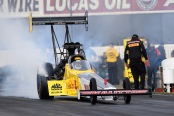 Richie Crampton piloting the Kalitta Air/DHL Top Fuel Dragster (Photo by the NHRA)