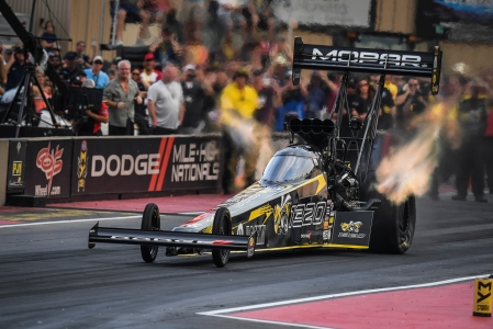 Leah Pritchett is seen going down the Mountain at Bandimere Speedway (Photo by the NHRA)