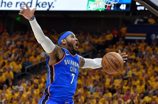Carmelo Anthony is seen here as a member of the Oklahoma City Thunder (Getty Images)