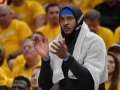 Carmelo Anthony on the bench (Getty Images)
