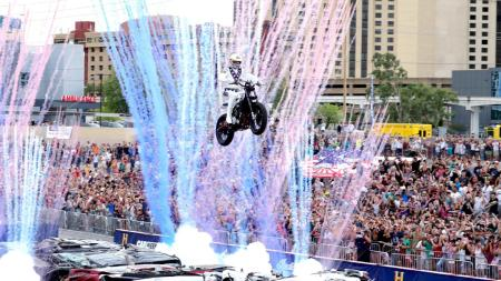 Travis Pastrana making his first jump over the crushed cars (Photo by the History Channel)