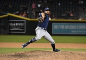 Brad Hand is seen here as a member of the San Diego Padres (Getty Images)