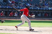 Brian Goodwin is seen here swinging as a member of the Washington Nationals (Getty Images)
