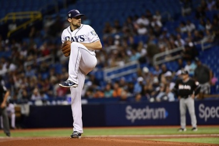 Nathan Eovaldi is seen here as a member of the Tampa Bay Rays (Getty Images)