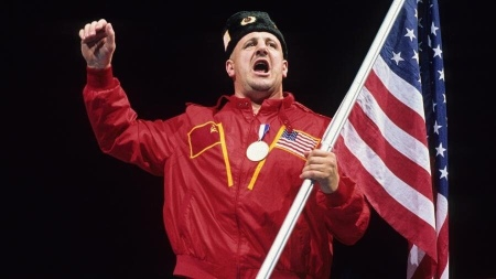 Nikolai Volkoff with the USA flag doing a chant